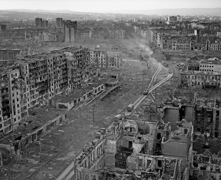 The ruins of the city of Grozny after Russian artillery shelling and airplane bombing in effort to exterminate the defenders of the capitol of rebellious Chechnya during the Second Chechen War. March 1995