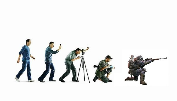 A meme from the community. Evolution of photographers in Torez.