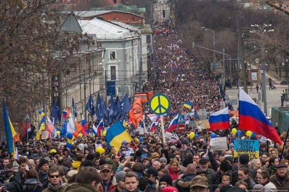Moskauer Friedensmarsch am 15. März 2014