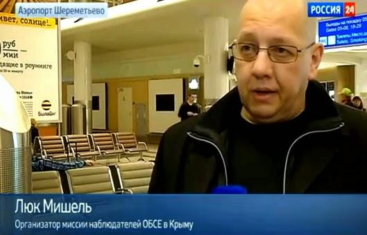 """Der belgische Faschist Luc Michel, Führer der EODE, auf der Krim. Die Bildunterschrift lautet: """"Organisator der OSZE-Mission auf der Krim"""""""