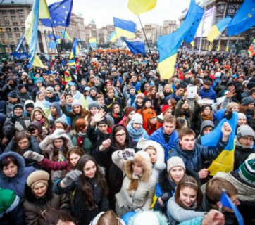 Ukrainians on the Maidan protesting the criminal and oppressive regime of Yanukovich, 2014