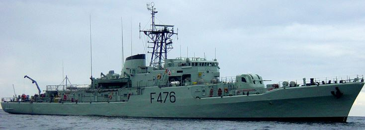 Corvet NRP Jacinto Candido escorting the Russian Navy ship out of Portuguese waters