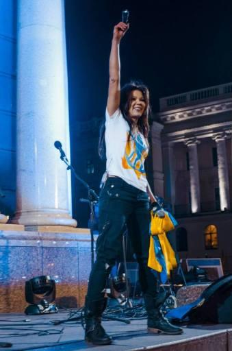 Ruslana at Maidan in Kyiv on the 1st anniversary of Euromaidan, November 21