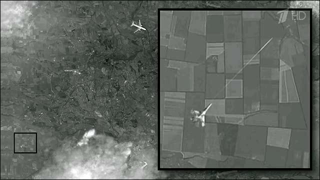 Foto: Das Bild, von dem das russische Staatsfernsehen behauptet, es sei der Beweis, dass MH17 von einem ukrainischen Kampfjet abgeschossen worden sei. Screenshot von 1tv.ru