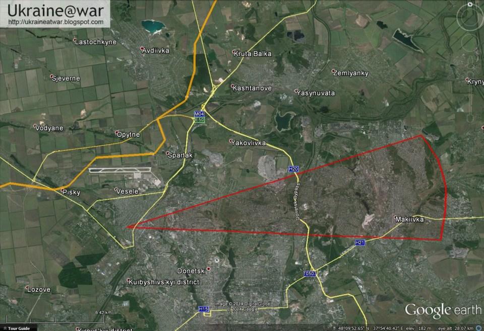 Der rote Pfeil zeigt die Richtung, woher die Rakete abgeschossen wurde