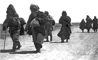 Kazakhs on the move in the early 1930s, in an attempt to escape the terror famine unleashed by the Soviet regime.