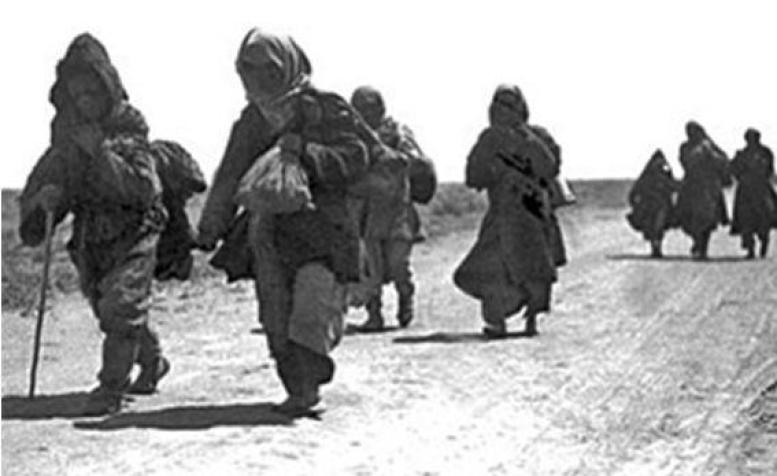 Kazakhs on the move in the early 1930s, in an attempt to escape hunger