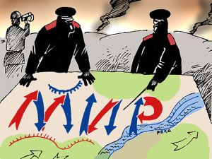 """PEACE A LA RUSSE: The red and blue arrows form a Russian word """"МИР"""" meaning """"peace"""" in this cartoon from a Russian newspaper. (Image: mk.ru)"""
