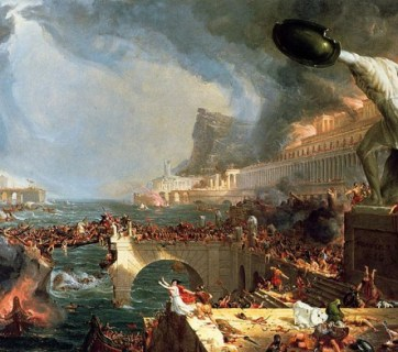 """Destruction"", the forth painting in a five-part series of paintings entitled ""The Course of Empire"", created by Thomas Cole in the years 1833-36. Image credit: Wikimedia Commons."