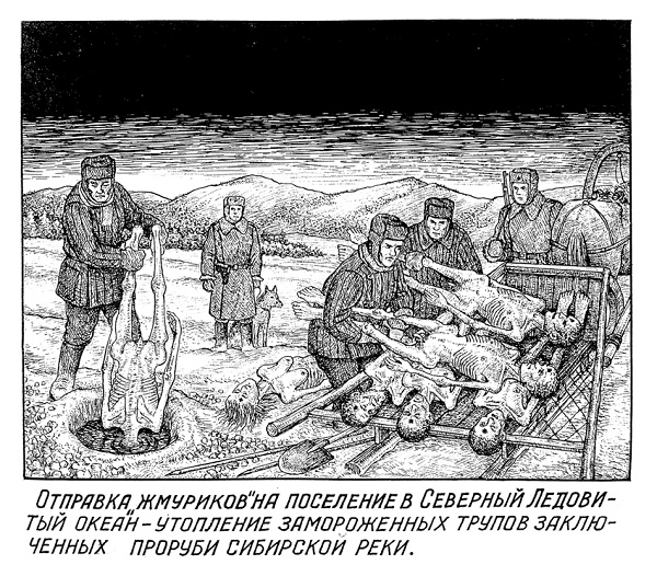 "Guards disposing of corpses of executed GULAG prisoners in a frozen Siberian river (""Drawings from the GULAG"" by Danzig Baldaev, a former NKVD guard)"