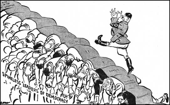 Hitler walking over the spineless leaders of democracy by British cartoonist David Low