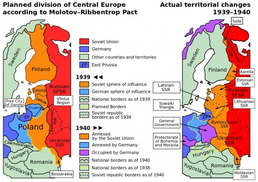 Planned and actual territorial changes in Central Europe 1939–1940. Image from wikipedia