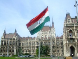 A flag from the 1956 Hungarian Revolution on the memorial to the victims located outside the Hungarian Parliament Building, 2006