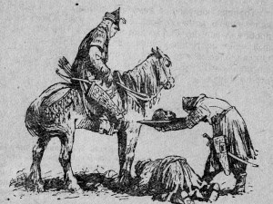 Mongol warriors presenting the head of a conquered nobility to their commander