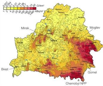 Figure 1: Radioactive contamination of Belarus with caesium-137 (1986)