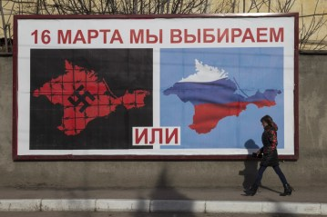 """Russian propaganda in advance of the 2014 """"referendum"""" conducted by the Russian occupation force."""