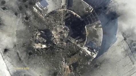 Arial view of the destroyed Donetsk Airport, photo taken on Jan. 15 2015