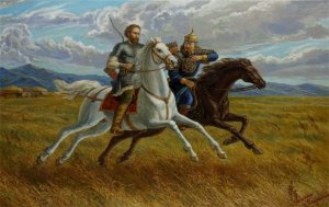 Alexander Nevsky, the ruler of Muscovy, with his sworn brother Sartaq Khan, a great grandson of Genghis Khan and the son of Batu Khan, who succeeded Batu as khan of the Ulus of Jochi (Golden Horde or Kipchak Khanate). Alexander received yarlyk (license) to become Grand Duke of Vladimir in vassalage to the Kipchak Khanate.