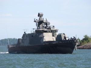 """Finland's """"Pori"""" missile boat in Helsinki's harbor"""