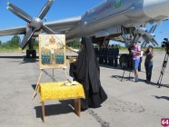 Joseph Stalin icon was used to bless Putin's strategic bombers at Engels Air Base in Russia. June 2015 (Image: dsnews.ua)