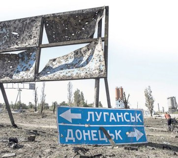A fork in the road in the Russia-occupied territory of Ukraine (Image: Reuters)