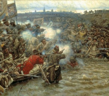 "The 1895 painting called ""The Conquest of Siberia by Yermak"" (by artist Vasilily Surikov, 1895) depicts Russian cossacks from Volga attacking one of the native people of Siberia who did not have firearms during the reign of Ivan The Terrible (Image: Wikimedia)"