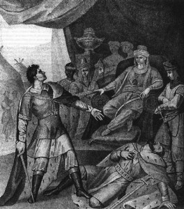 Prince Dmitri of Tver killing Prince Yury of Moscow in the palace of Uzbeg Khan of Golden Horde. Prince Yury killed Dmitri's father Prince Mikhail of Tver over the right to collect taxes from the rest of Russian princes for the Mongol Horde. (Image: Wikimedia)