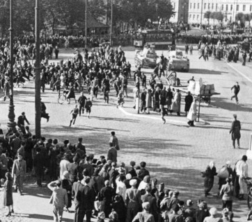The Red Army entering the Station Square in Riga, Latvia during the Soviet annexation of the Baltics. 17 June 1940. (Image: Photographer A.M. Dubrovičs, NHML Collection)