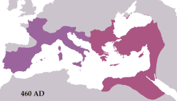 The Roman Empire during the reigns of Leo I (east) and Majorian (west) in 460 AD. Roman rule in the west would last less than two more decades, whereas the territory of the east would remain static until the reconquests of Justinian I. Image: Wikipedia