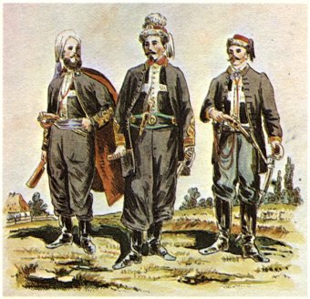 Zouaves of Death (żuawi śmierci), an 1863 Uprising unit organized by François Rochebrune. Drawing (published 1909) by K. Sariusz-Wolski, from a photograph. From left: Count Wojciech Komorowski, Col. Rochebrune, Lt. Tenente Bella (Image: Wikipedia)