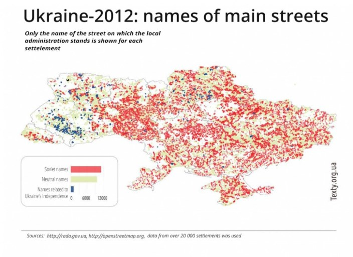 Communist and Ukrainian names of the central streets of Ukrainian settlements - graphics by texty.org.ua, translated by Euromaidan Press