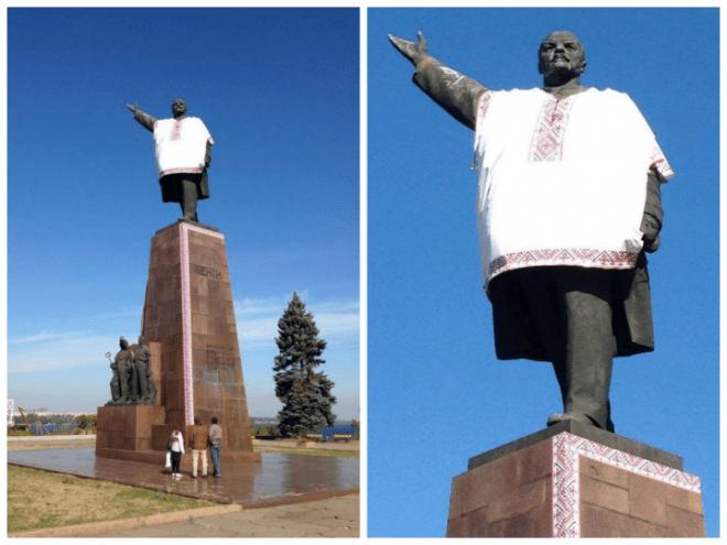 "Lenin monument in Zaporizhzhya ""dressed"" into the Ukrainian ethnic shirt. October 2014. (Image: social media)"