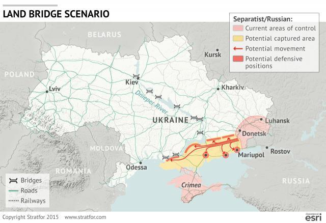 """Land bridge"" scenario of a Russian offensive in Ukraine, image (c) Stratfor"