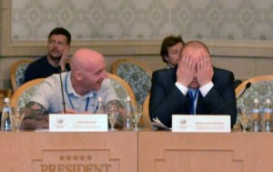 Sean Carlin and Michael McLaughlin of the Irish Republican Socialist Party at the global separatist event ordered and paid for by the Kremlin. Moscow, September 20, 2015 (Image: Ekaterina Kaulina)