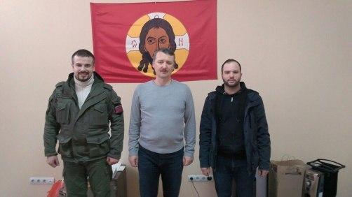 Igor Strelkov-Girkin (centre), Alexander Zhuchkovsky (right) in Eastern Ukraine