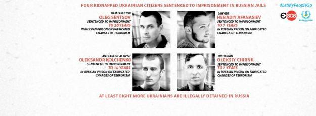4 kidnapped Ukrainian citizens in Russian jails: Sentsov, Afanasiev, Kolchenko, Chirnii