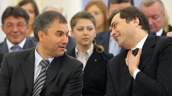 Volodin (left) and Surkov (right) look like BFFs in this picture. Who would have thought there's infighting between them over running Donbas?
