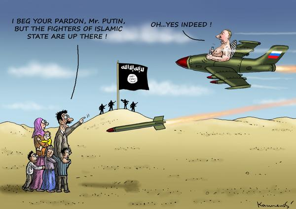 Putin bombing Syria (political cartoon)