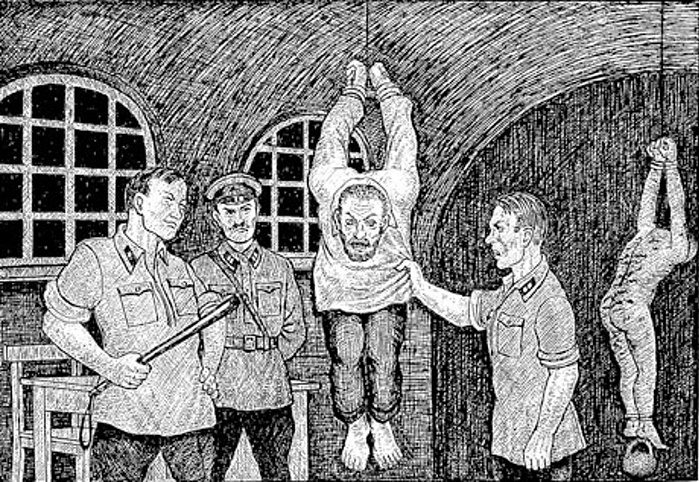 "'Third degree interrogation' from ""Drawings from the GULAG"" by Danzig Baldaev, a former NKVD guard"