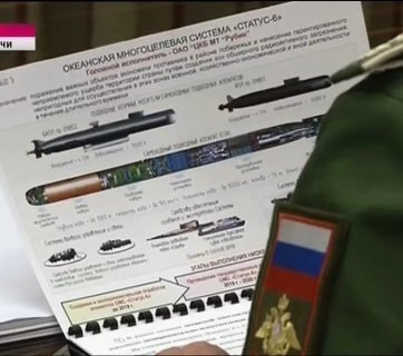 A screen capture from Russian NTV channel broadcast showing a sheet with information about the Status-6 nuclear drone submarine, which is a weapon with roots in Soviet times, but that could be used to cover a coastal area with radioactive debris and make it uninhabitable, according to the report. (Image: Delovaya Stolitsa)