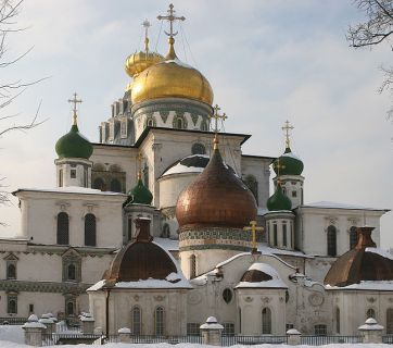 The New Jerusalem Monastery (Russian: Новоиерусалимский монастырь), also known as the Voskresensky (Resurrection) Monastery, is a male monastery, located in the outskirts of Moscow, Russia. It was founded in 1656 by Patriarch Nikon as a patriarchal residence outside of the Kremlin. (Image: Wikipedia)