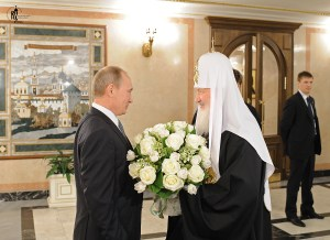 Putin with Kirill, the patriarch of the Russian Orthodox Church (Image: patriarchia.ru)