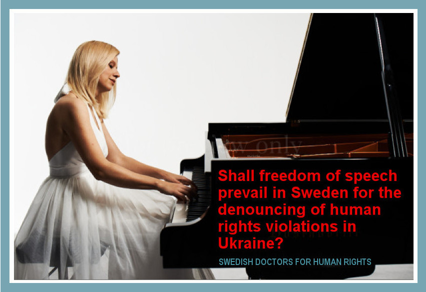 Photo illustrating a statement by Swedish Doctors for Human Rights on Lisitsa's concert. October 2015.