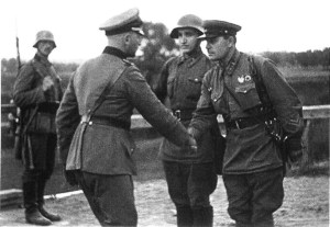 Nazi German and Red Army officers
