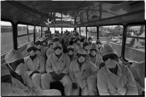 "Workers of the Chornobyl Nuclear Power Plant on the way to the Exclusion Zone, 1986 (Image: ""Чернобыльская молитва"" via belaruspartisan.org)"