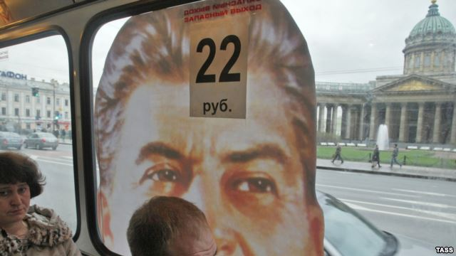 Portraits of Stalin adorn buses in St.Petersburg. Funds for their purchase were crowdfunded by a group of bloggers. Photo: TASS