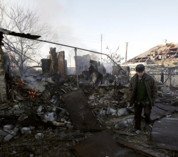 For Putin, Donbas destroyed as a result of his military invasion and occupation is only a mechanism to exert pressure on Ukraine. (Image: UNIAN)