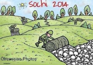 Vladimir Putin chose to conduct the 2014 Olympiad in Sochi, a site of the 1864 genocide of the Circassian people. (Image: social media)