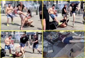A fresh round of violence by Russian football/soccer fans in the center of Lille, France. A British fan on the ground is being cruelly drop-kicked in the head multiple times by the Russian gang (Image: social media)