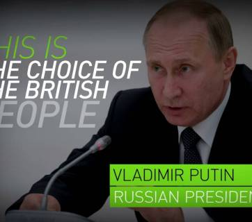 "Putin in a propaganda video by RT (Russia Today): ""This is the choice of British people"" (Image: screen capture)."